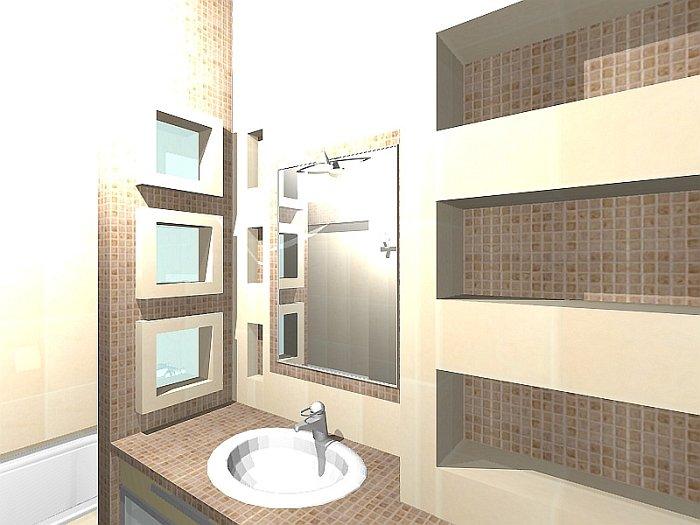 Fürdőszoba felújítás átalakítással (BA 2.rész)  3D Lakberendezés
