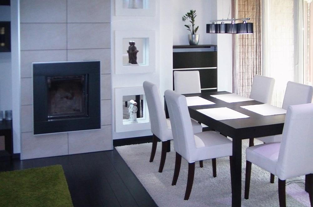 Minimál stílusú nappali, étkező, konyha lakberendezési tervezése ...
