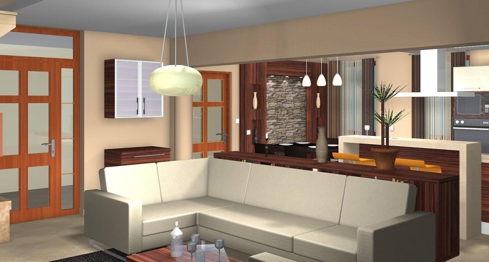 Egyterű nappali-étkező-konyha kialakítása  3D Lakberendezés