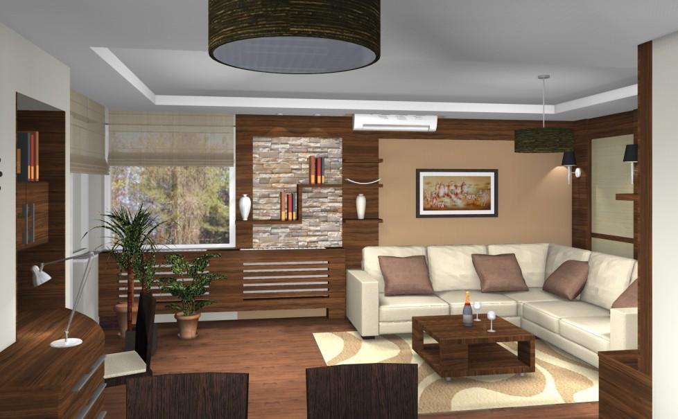 Modern egyterű nappali egy hagyományos családi házban  3D Lakberendezés