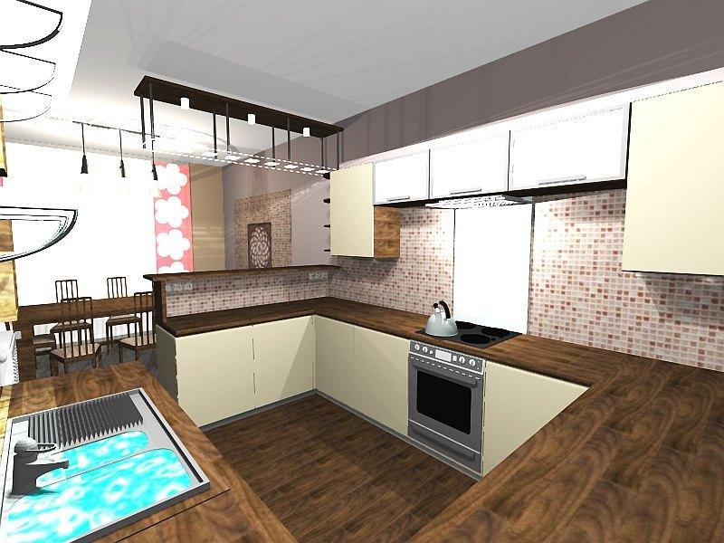 L-alakú konyha, étkező lakberendezése (SZ-1.rész)  3D Lakberendezés