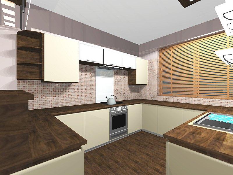 L-alakú konyha, étkező lakberendezése (SZ-4.rész)  3D Lakberendezés
