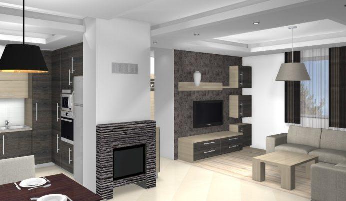 Egyterű nappali lakberendezése egy kis házban, a XVI. kerületben - látványterv