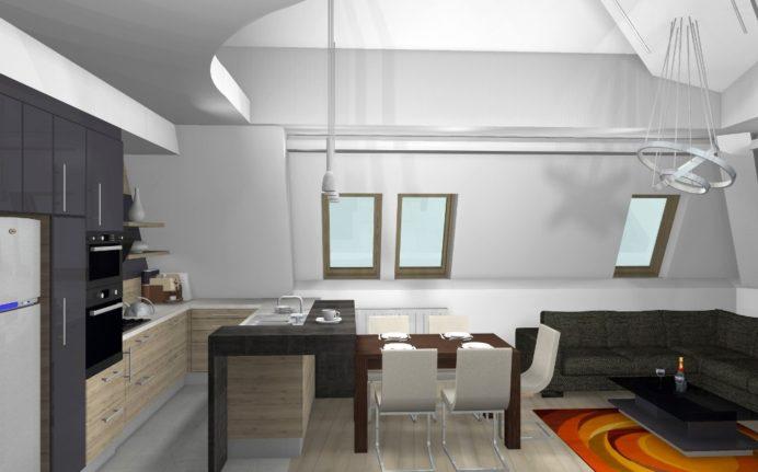 Kétszintes tetőtéri lakás lakberendezői látványterve